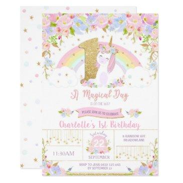 unicorn 1st birthday invitations floral rainbow