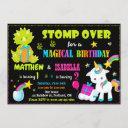 unicorn and dinosaur birthday invitation twins