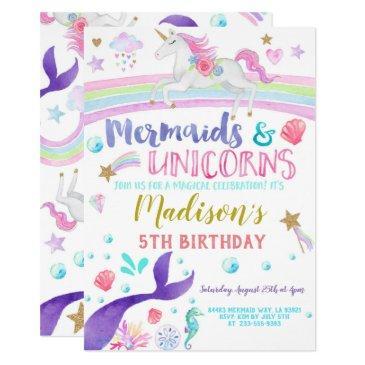 unicorn and mermaid invitation unicorns mermaids