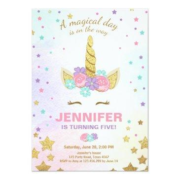 Small Unicorn Birthday Invitations Pink Gold Magical Front View