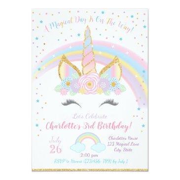 Small Unicorn Birthday Invitation, Unicorn Party Invite Front View