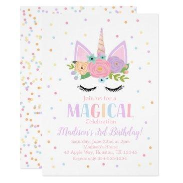 unicorn birthday party polka dots flowers invitation