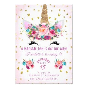 unicorn face floral birthday invitations