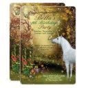 unicorn fantasy woodland birthday party invitations