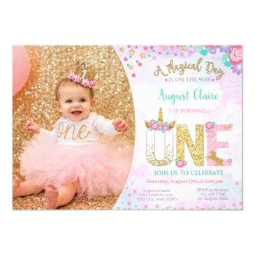 unicorn floral magical 1st birthday invitation