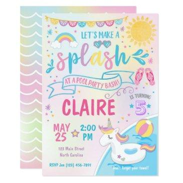 unicorn pool party invitations, pool bash birthday invitations