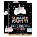 unicorn slumber party birthday invitation pajama