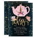 unicorn tea party gold glitter pink girls birthday invitation