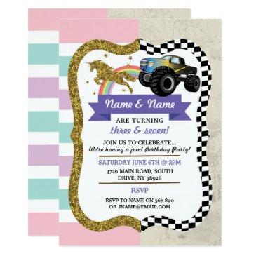 unicorn & truck joint boy girl birthday invites