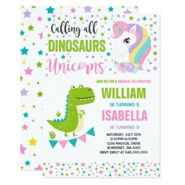 unicorns and dinosaurs birthday invitation magical