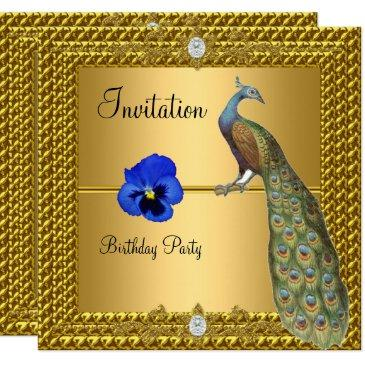unique and elegant gold and peacock invitation