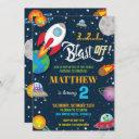 vibrant space rocket ship planets birthday party invitation