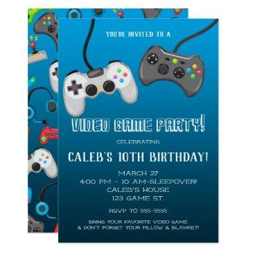 video game controllers gamer birthday party invitations