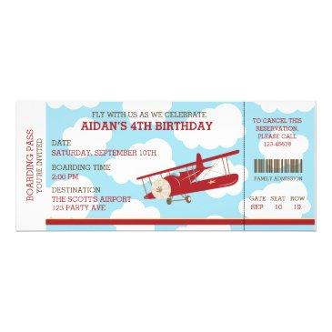 vintage airplane boarding pass ticket birthday invitations