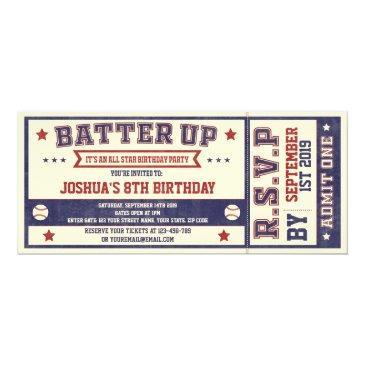 vintage baseball ticket birthday invitations