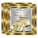 vintage car men's 60th birthday party gold silver invitation
