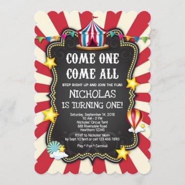 vintage circus birthday invitation