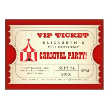 vintage circus carnival birthday party ticket invitations