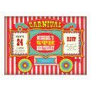 vintage circus carnival wagon birthday party invitation