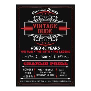 vintage dude birthday man myth legend invitations