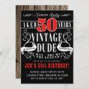 vintage dude man myth legend men's 50th birthday invitation