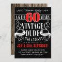 vintage dude man myth legend men's 60th birthday invitation