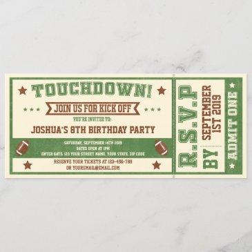 vintage football ticket birthday invitation