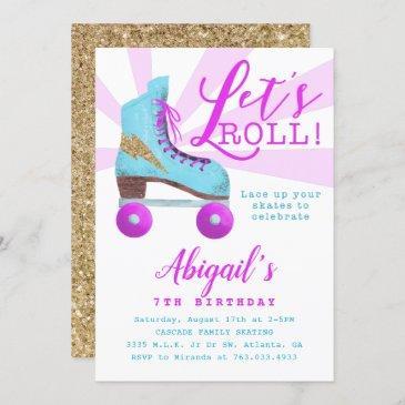 vintage gold roller skating birthday party invitation