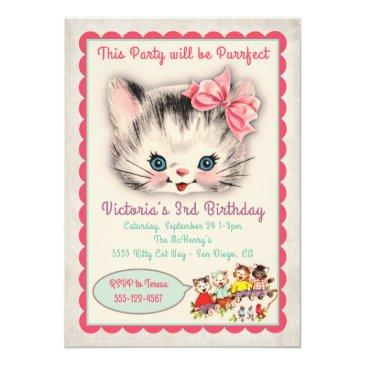 vintage kitty cat birthday party invitations