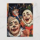 vintage laughing circus clowns birthday party invitation