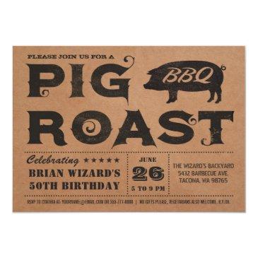 vintage pig roast bbq birthday invitations kraft