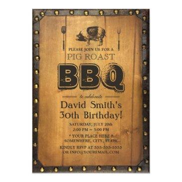 vintage pig roast bbq dirty 30 old wood birthday invitations