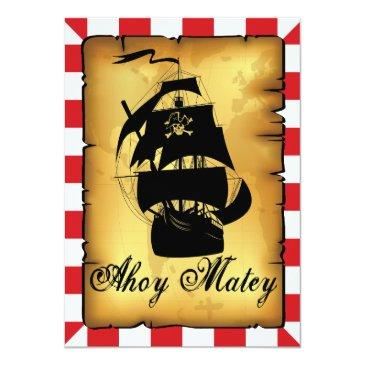 Small Vintage Pirate Party, Birthday Invitation. Invitations Back View