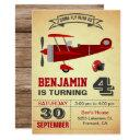 vintage red airplane birthday party invitation