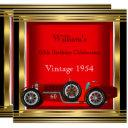 vintage red racing car mans 60th birthday party 2 invitations