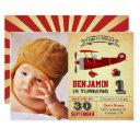 vintage red retro airplane birthday invitation