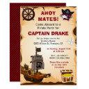 vintage rustic pirate theme birthday party invite