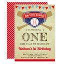 vintage sports baseball 1st birthday party invitation