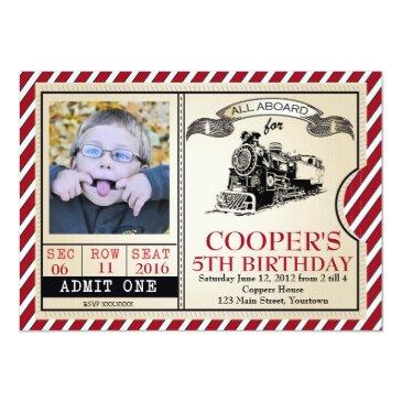 vintage train birthday invitations