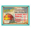 vintage train ticket birthday party invitation