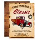 vintage truck milestone birthday party invitations