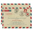 vintage world traveler airmail birthday party invitations