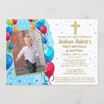 virtual 1st birthday baptism blue gold text photo invitation