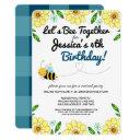 virtual bee birthday party by mail invitation