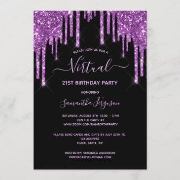virtual birthday glitter drip black purple glam invitation