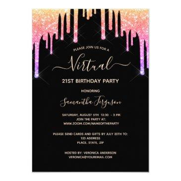 virtual birthday rainbow glitter black rose gold invitation