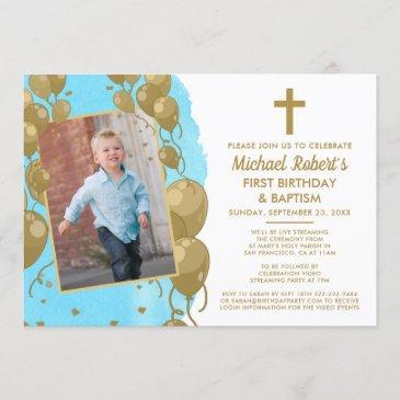 virtual blue gold baptism 1st birthday text photo invitation