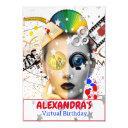 virtual online party video silver stars birthday invitation