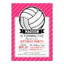 volleyball on neon pink stripes invitations