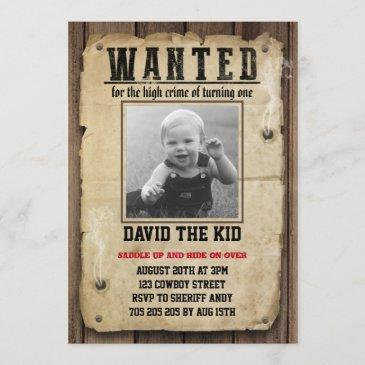 wanted poster boy first birthday cowboy invitation